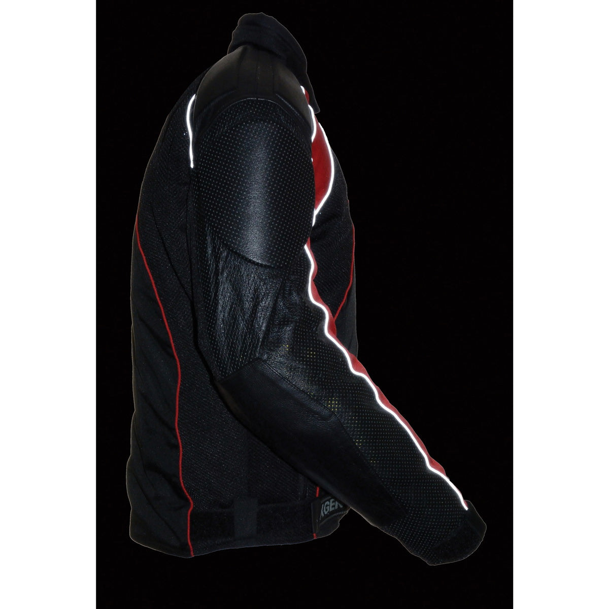NexGen SH2153 Men's Combo Black and Red Armored Leather and Textile