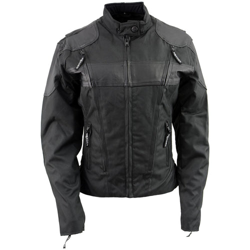 NexGen Ladies SH2179 Black Leather and Textile Vented Racer Jacket