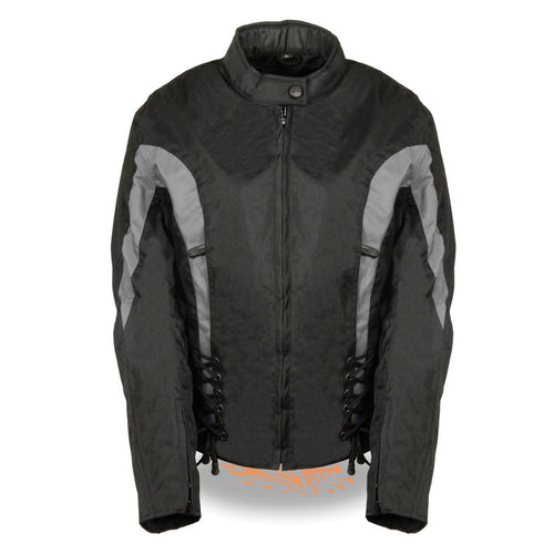 Bikers Edge SH2188 Ladies Black and Grey Textile Jacket with Side Stretch