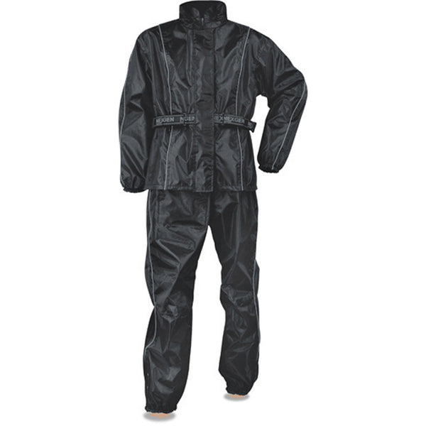 NexGen SH2215 Men's Lightweight Oxford Nylon Black Water Resistant Rain Suit