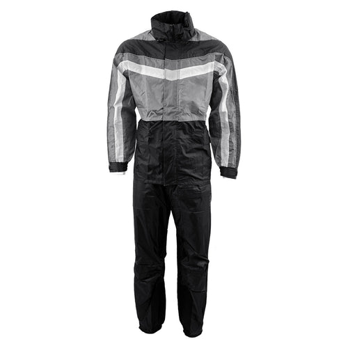 NexGen Men's SH2226 Black and Grey Hooded Water Proof Rain Suit
