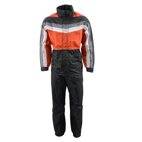 NexGen Men's SH2226 Black and Orange Hooded Water Proof Rain Suit