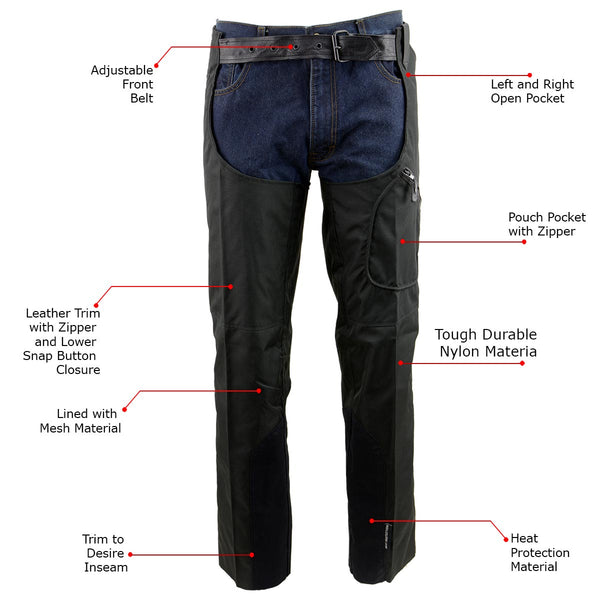 NexGen SH2258 Men's Black Textile Riding Chaps with Heat Protection