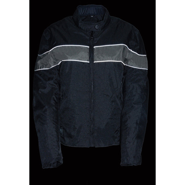 NexGen SH2261 Ladies Lightweight Black and Grey Textile Jacket with Reflective Piping