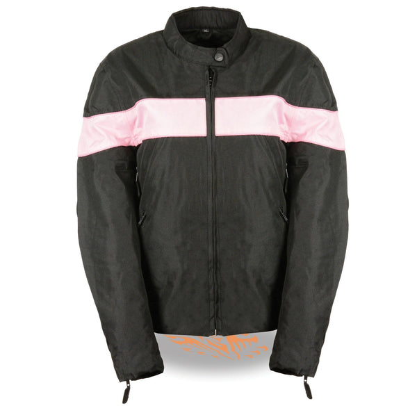NexGen SH2261 Ladies Lightweight Black and Pink Textile Jacket with Reflective Piping