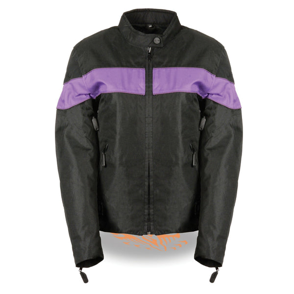 NexGen SH2261 Ladies Black and Purple Textile Lightweight Jacket with Reflective Piping