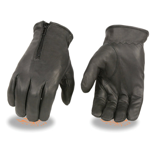 Milwaukee Leather SH226D Men's Black Unlined Leather Gloves with Zipper Closure