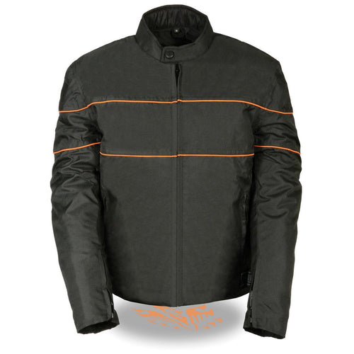 NexGen SH2285 Men's Black with Orange Stripes Scooter Style Textile Jacket