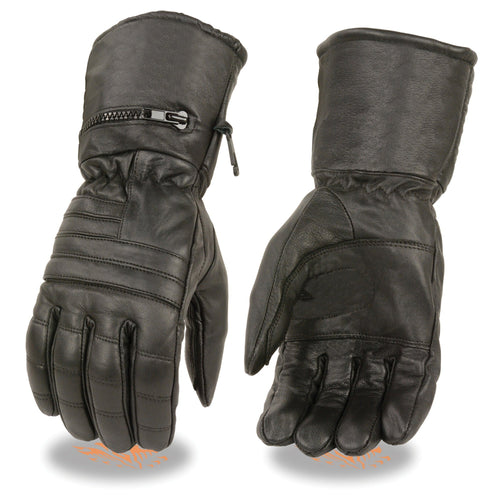 Milwaukee Leather SH230 Men's Black Leather Gauntlet Gloves with Rain Mitten