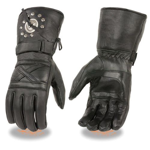 Milwaukee Leather SH231 Men's Black Leather Gauntlet Gloves with Studs and Conchos