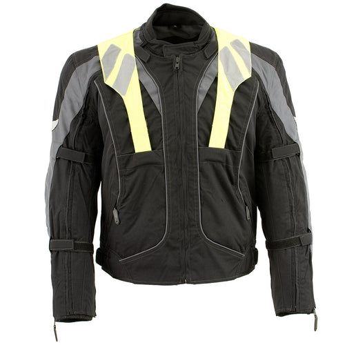 NexGen SH2325 Men's Armored Two in One Textile and Mesh Racing Jacket with Retractable Hi Viz Protection