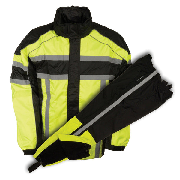 NexGen SH233113 Men's Black and Neon Green Water Resistant Rain Suit with Reflective Tape