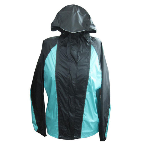 NexGen Ladies SH2333 Black and Turquoise Hooded Water Proof Rain Suit