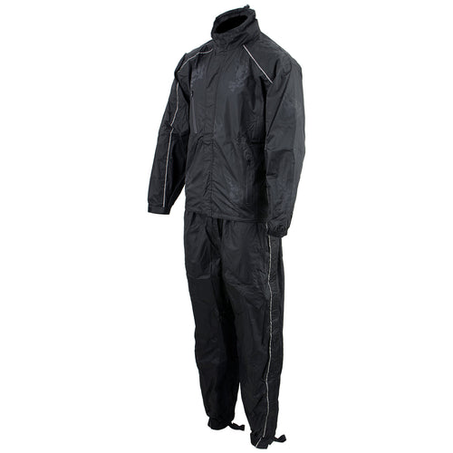 NexGen SH2334 Men's Black Water Proof Rain Suit with Reflective Flame Skull Design