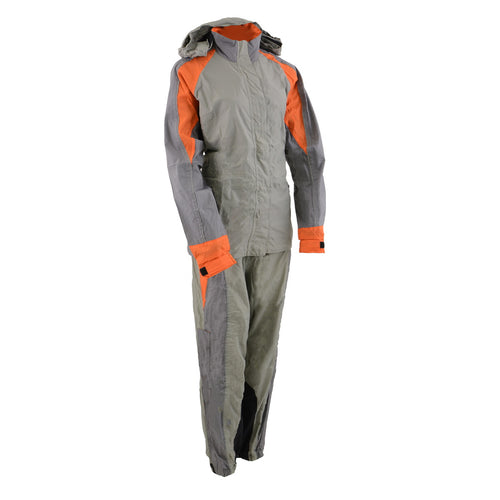 Milwaukee Performance SH2336SGO Women's Gray and Orange Rain Suit Water Resistant with Reflective Piping