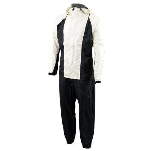 NexGen Ladies SH2344 Beige and Black Hooded Water Proof Rain Suit
