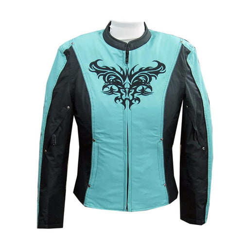 NexGen SH2367 Ladies Turquoise and Black Textile Jacket with Embroidery Artwork