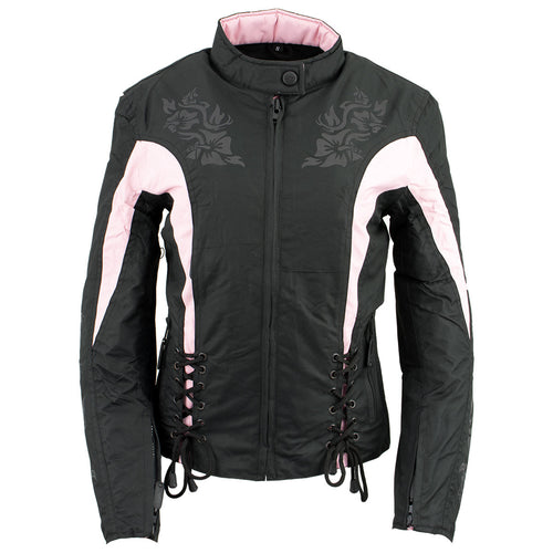 NexGen SH236806 Ladies 'Reflective Buffalo Head' Black and Pink Textile Jacket