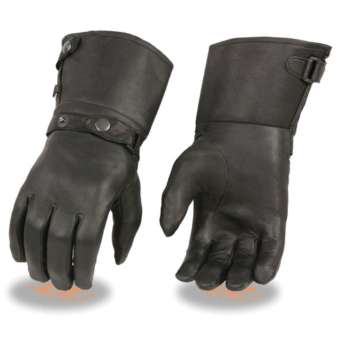 Xelement XG264 Men's Black Leather Thermal Lined Gauntlet Gloves