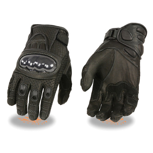 Xelement XG298 Men's Black 'Knuckle Protect' Leather Protective Racing Gloves