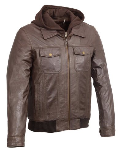 Wilsons Leather SH3353 Men's Brown Leather Zipper Front Bomber Jacket with Zip Off Hoodie