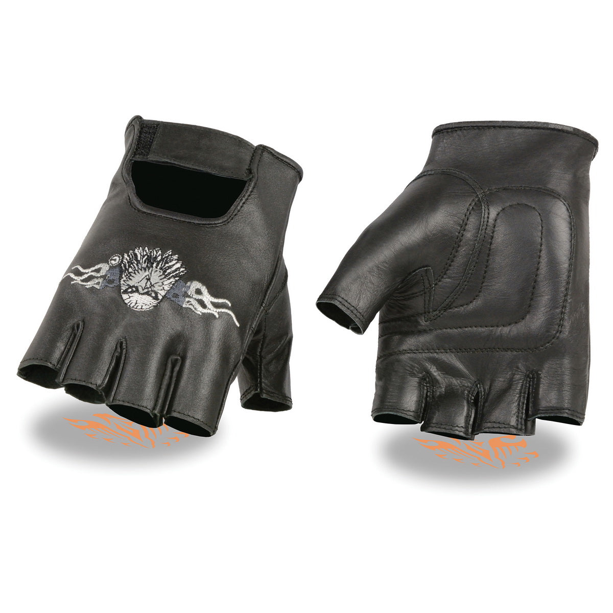 Milwaukee Leather SH352 Mens Black Leather Fingerless Glove with  Eagle Head Embroidery