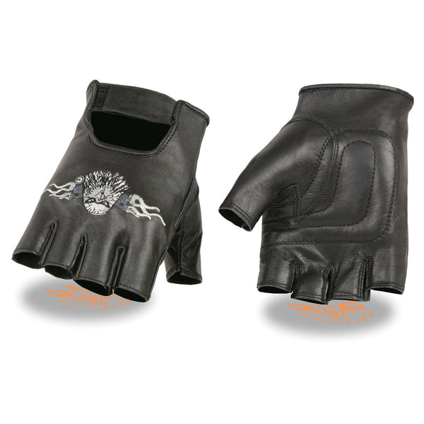Milwaukee Leather SH352 Men's 'Eagle Head' Black Leather Fingerless Gloves