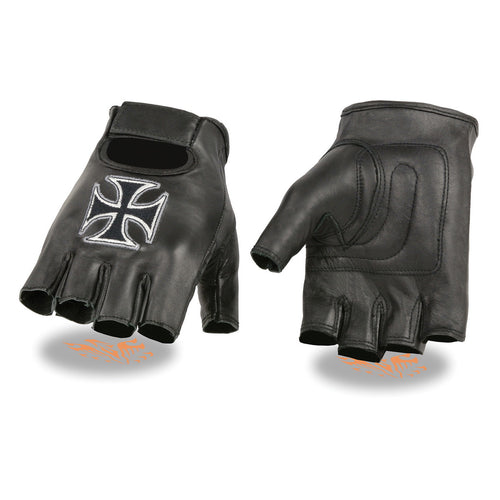 Milwaukee Leather SH354 Men's 'Iron Cross' Black Leather Fingerless Gloves