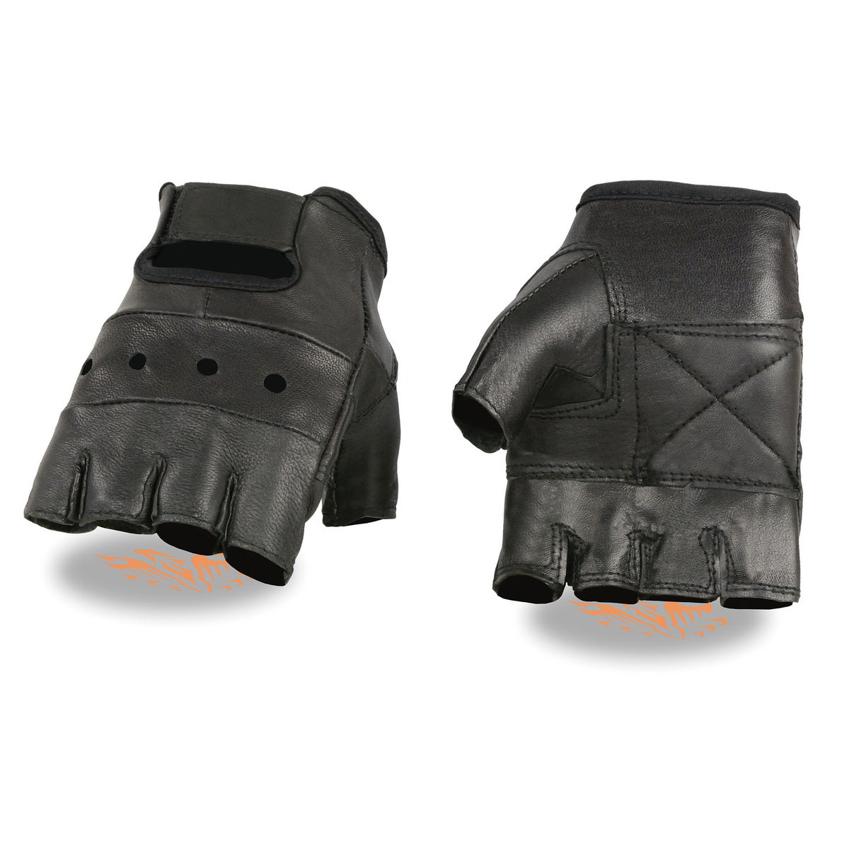 Milwaukee Leather SH355 Mens Black Leather Fingerless Glove with Gel Palm