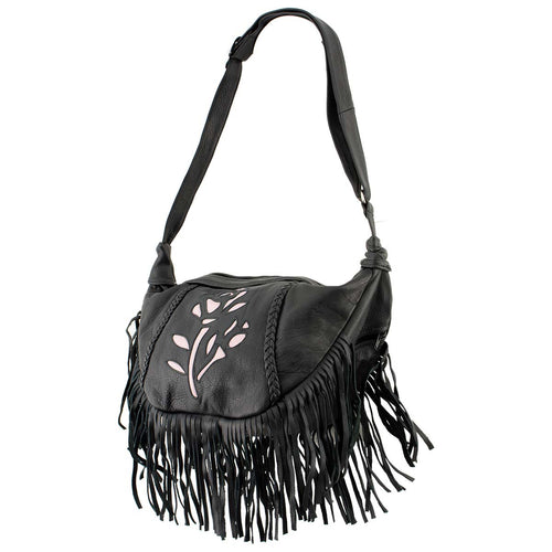 Milwaukee Leather SH397 Ladies 'Inlay Rose' Fringed Black and Pink Shoulder Bag