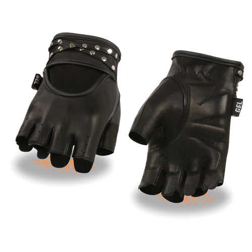 Milwaukee Leather SH461 Ladies 'Studded' Black Leather Fingerless Gloves with Gel Palms