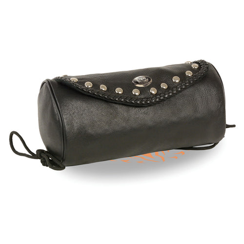 Milwaukee Leather SH496 Black Soft Leather Large Braids and Studs Tool Pouch