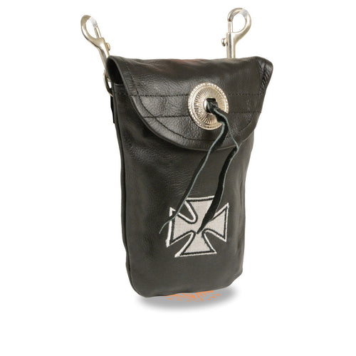 Milwaukee Leather SH506EC Black Leather Belt Bag with Iron Cross and Double Clasps