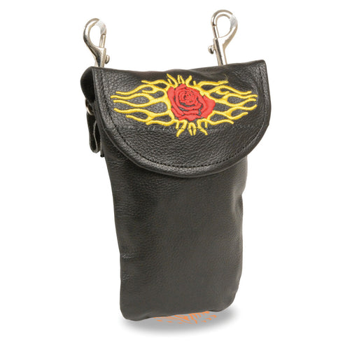 Milwaukee Leather SH506EF Black Leather Belt Bag with Rose and Flames and Double Clasps