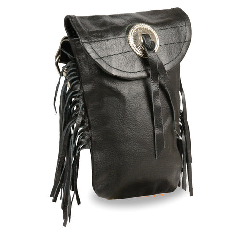 Milwaukee Leather SH506F Black Leather Belt Bag with Fringe and Double Clasps