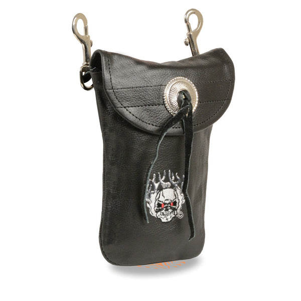 Milwaukee Leather SH506FS Black Leather Belt Bag with Flaming Skull and Double Clasps