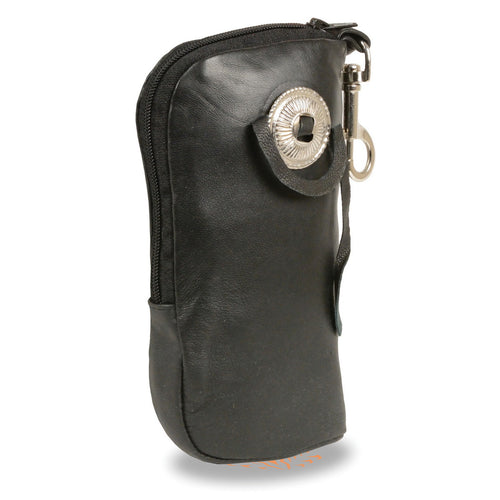 Milwaukee Leather SH508 Black Leather Zippered Eye Glass Case with Concho and Belt Clasp