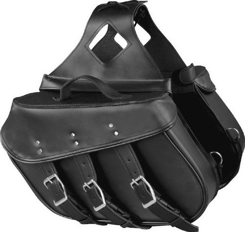 Xelement X-551-01ZB Zip Off Solid Black PVC Three Strap Motorcycle Saddlebags