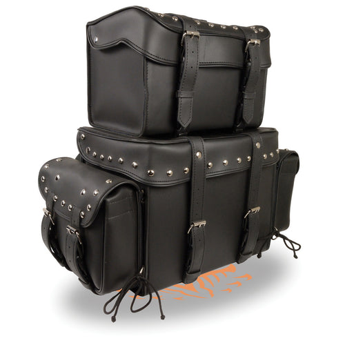 Milwaukee Performance SH650 Black PVC Large Four Piece Studded Touring Pack with Barrel Bag