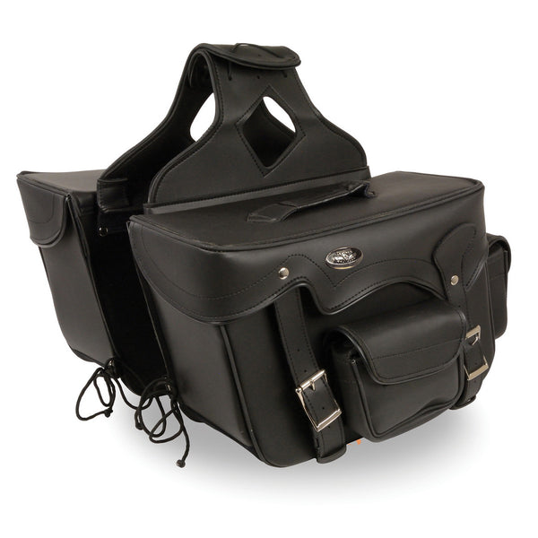 Milwaukee Performance SH666ZB Black Double Front Pocket Throw Over Saddle Bag with Reflective Piping