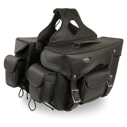 Milwaukee Leather SH66602 Zip-Off Double Pocket Studded PVC Throw Over Saddlebags with Reflective Piping