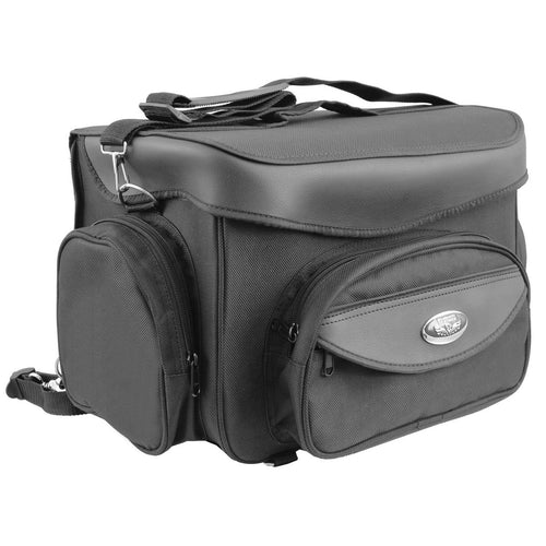 Milwaukee Leather SH685 Motorcycle Black Textile Sissy Bag with Carrying Strap