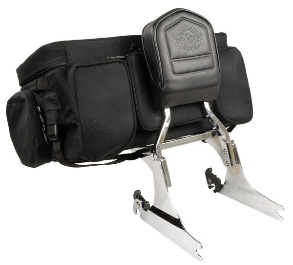 Milwaukee Leather Performance SH695 Black Large Textile Squared Sissy Bar Rack Bag
