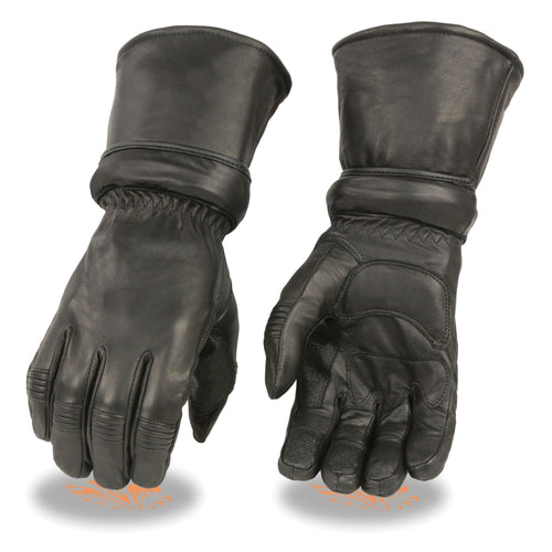 Xelement XG710 Men's Black Leather Gauntlet Gloves with Gel Palm