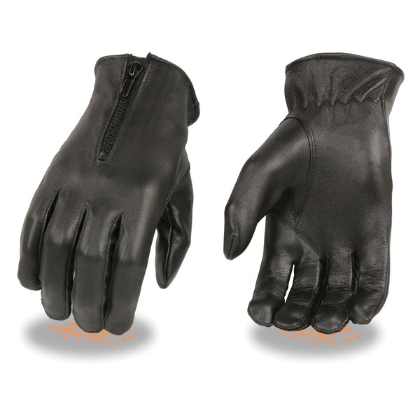 Milwaukee Leather SH728 Ladies Black Thermal Lined Leather Gloves with Zipper Closure