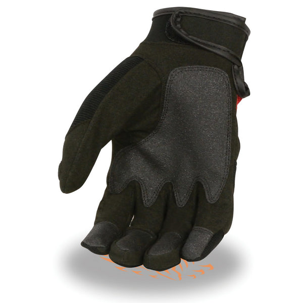 Milwaukee Leather SH76102 Men's Black and Red Textile Motorcycle Gloves