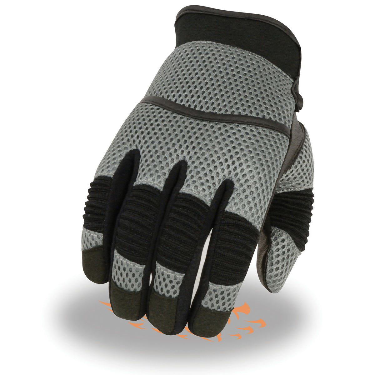 Milwaukee Leather SH791 Men's Black and Grey Mesh and Leather Racing