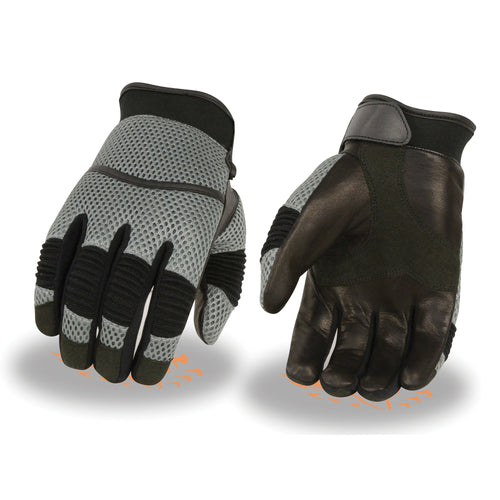 Xelement XG791 Men's Black and Grey Mesh and Leather Racing Gloves