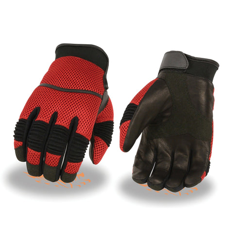Xelement XG791 Men's Black and Red Mesh and Leather Racing Gloves