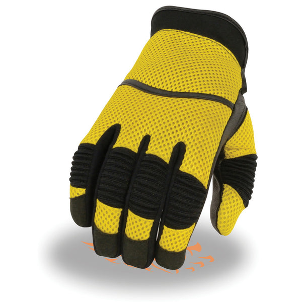 Milwaukee Leather SH791 Men's Black and Yellow Mesh and Leather Racing Gloves